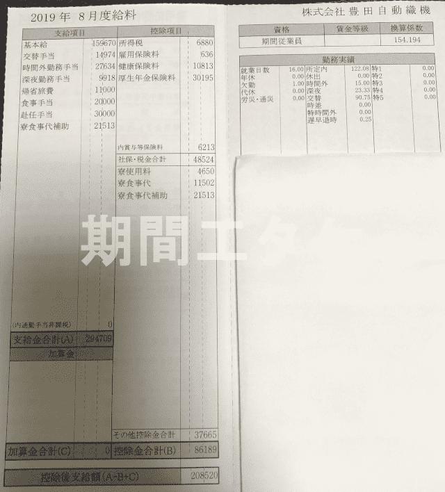 給料明細8月