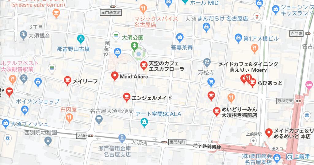 メイド喫茶地図大須