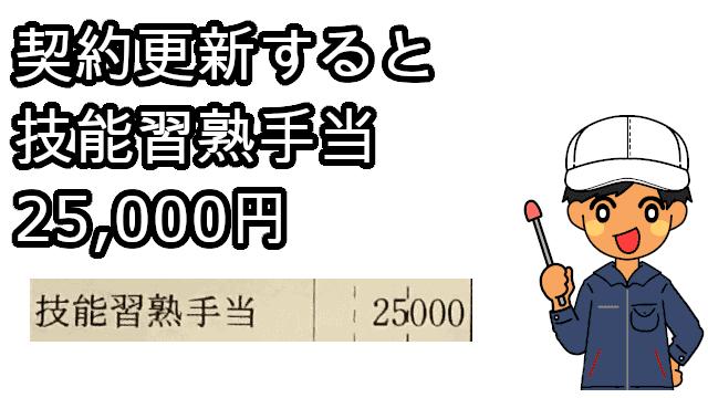 技能習熟手当25000円