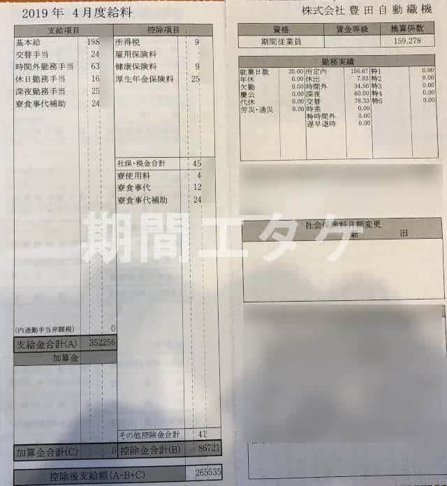 碧南工場給料4月