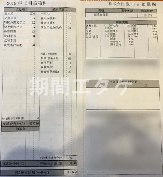 碧南工場給料5月