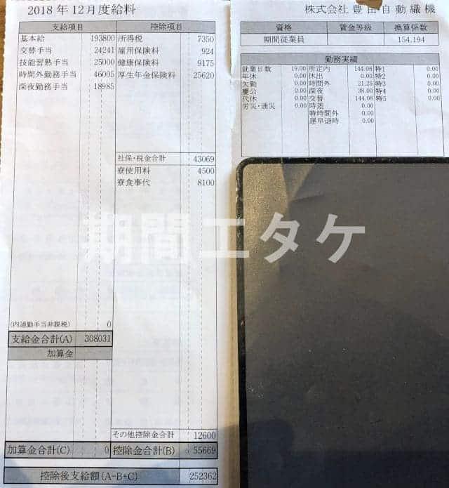 長草工場給料明細2018年12月