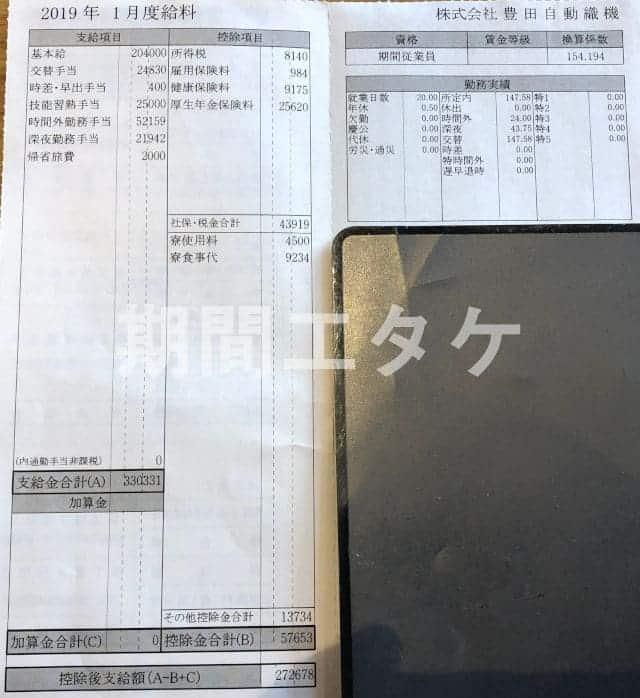 長草工場給料明細2019年01月