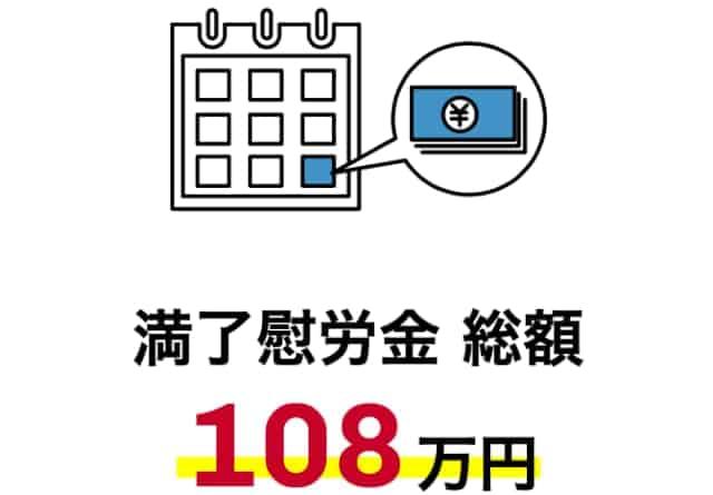 満了慰労金108万円