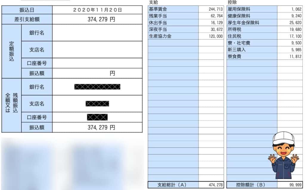 アイシン期間工給料明細202010