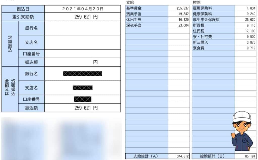 アイシン期間工給料明細202103