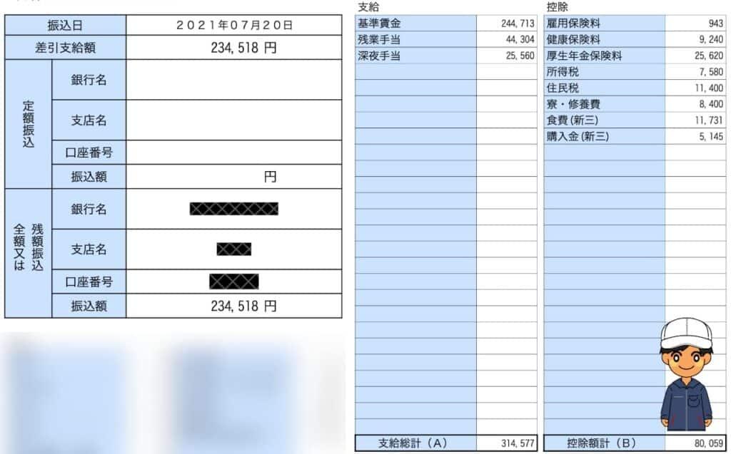 アイシン期間工給料明細202106